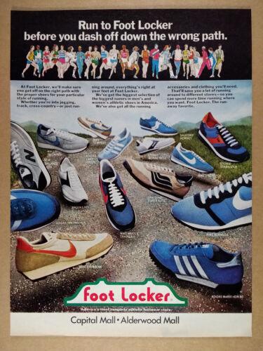 1980 Nike Adidas Etonic New Balance Running Shoes Foot Locker vintage print Ad