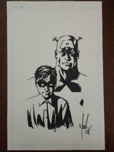 MIKE MCKONE Captain America & Bucky ORIGINAL ART HEAD SKETCH
