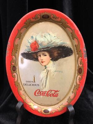 ANTIQUE ORIGINAL 1909 COCA-COLA OVAL TIP TRAY HAMILTON KING ART RARE AUTHENTIC