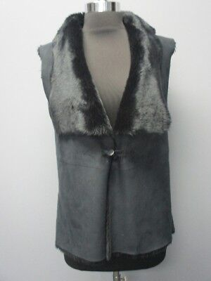 Solid Faux Suede - DESIGN HISTORY Black Faux Suede Solid Front Toggle Sleeveless Vest Sz L EE9527
