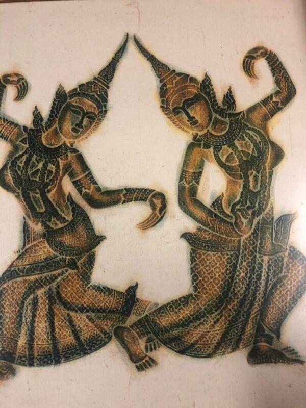 Vintage Large Thai Temple Rubbing Green Dancers Wood Framed Art On Rice Paper