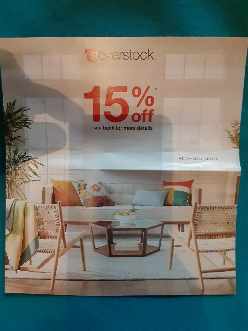 Overstock 15 Off COUPON Zero Shipping Expires 6/30/21 QUICK Delivery Of Code - $3.75