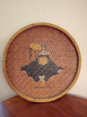 Vintage Wicker Round Serving Tray With Hand Painted Victorian Woman 13 1/2