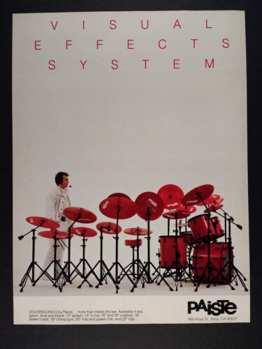 1985 Paiste Colorsound 5 Red Cymbals vintage print Ad