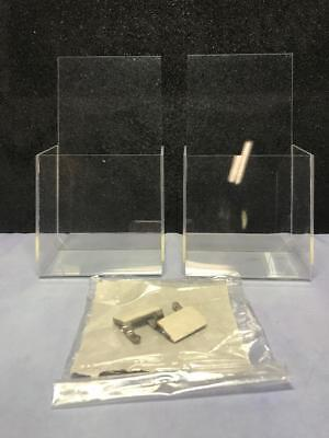 2 CLEAR premium acrylic slant back brochure holders - with security devices