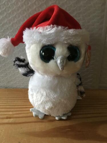 """Ty NEW Beanie Boo Boos TINSEL the Holiday OWL 6"""" MWMT 2016 - Claire"""
