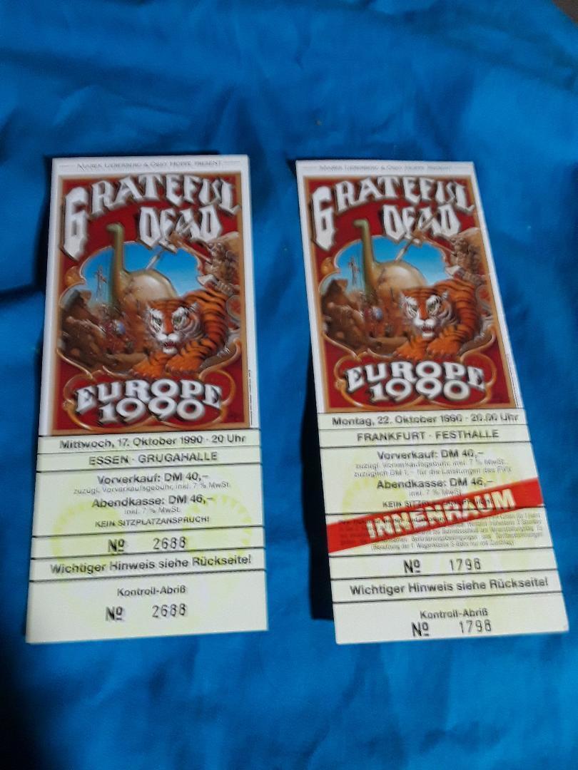 2-Lot Grateful Dead Original Europe 1990 Rick Griffin Art 2 Full Germany Tickets - $69.90