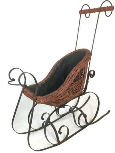 Large Doll Buggy Baby Doll Wicker Metal Sleigh Victorian Decor Christmas Sleigh