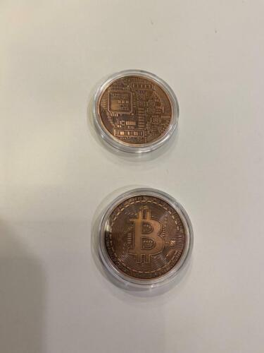 New Bitcoin Physical Coin Crypto Currency Copper Plastic Holder Coins Individual