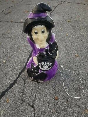 """General Foam 34"""" Witch w Cat & Bat Lighted Blow Mold Halloween Decoration NOS"""