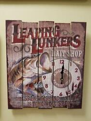 American Expedition Big Leaping Lunkers bait shop Wooden Sign Wall Clock