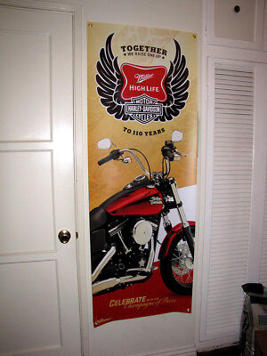 Miller High Life Harley Davidson Motorcycles 110 years beer banner poster sign