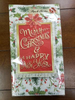 NWT Punch Studio 16144 Christmas Greenery 32-Ct Guest Towels Paper Napkins