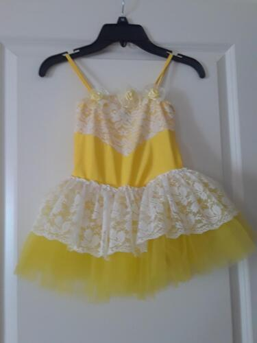GIRLS YELLOW DANCE COSTUME WITH WHITE LACE  SIZE SMALL BY BE WICKED