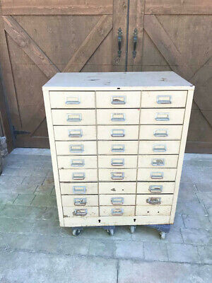 Vintage Cole Steel 33 Drawer File Cabinet Mid Century Rare 14 Inch Deep Drawers