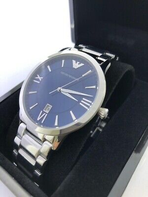Emporio Armani Men's Quartz Stainless Steel Silver with Blue Dial AR11227
