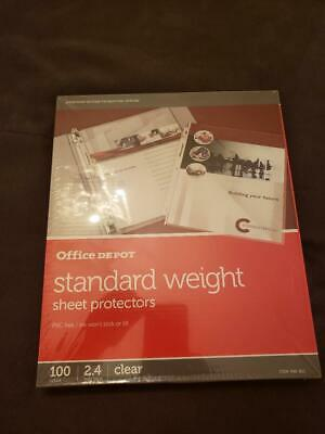 Brand New Office Depot Standard Sheet Protectors 100 Ct. For Only 10