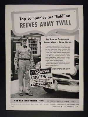 1950 Spur Gas Station Attendant photo Reeves Army Twill Fabric vintage print Ad