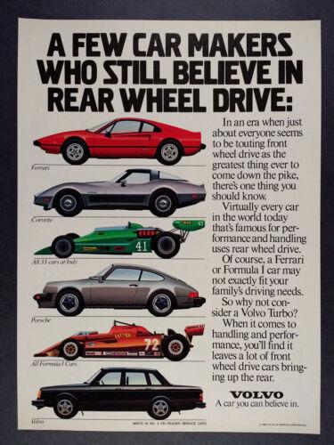 1983 Volvo Turbo Sedan ferrari porsche corvette car art vintage print Ad
