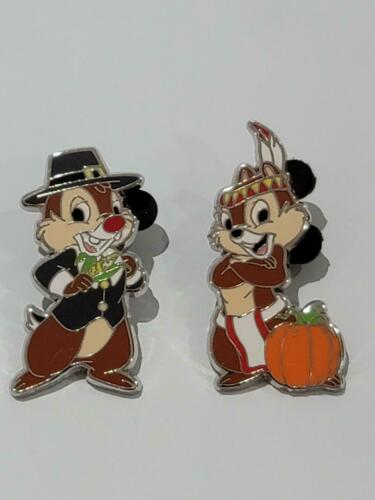 DISNEY PINS CHIP & DALE THANKSGIVING COSTUMES 2 PINS AS SHOWN