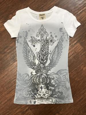 VOCAL Women's Short Sleeve Burnout Cross Rhinestone Graphic Biker Tee Shirt