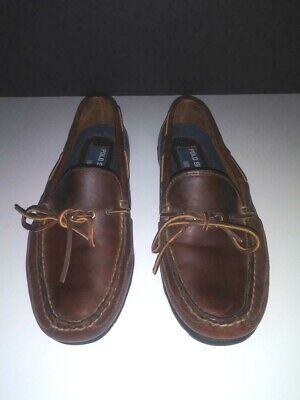 Polo Ralph Lauren Sport Men's Brown Leather Boat Shoes Slip On Loafers Size 9.5