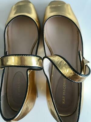Kat Maconie Shiny Gold Leather Shoes US Size 8B, EURO 39