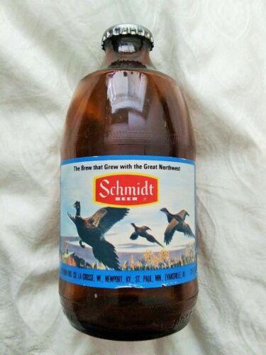 Vintage 12oz 1970s Schmidt Beer Pheasants Scene Bottle w Cap/Crown Heileman WI