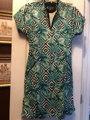 NWT Ladies Bermuda Sands Green Black & White Cap Sleeve Golf Tennis Dress M & L