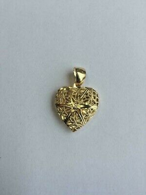 14 K GOLD PLATED HEART LOCKET PENDANT WITH FILIGREE FRONT AND SOLID BACK J - Filigree Locket Pendant