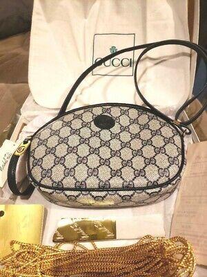 NWT Authentic GUCCI Vintage Blue Navy Monogram Oval Cross body Bag Handbag +MORE
