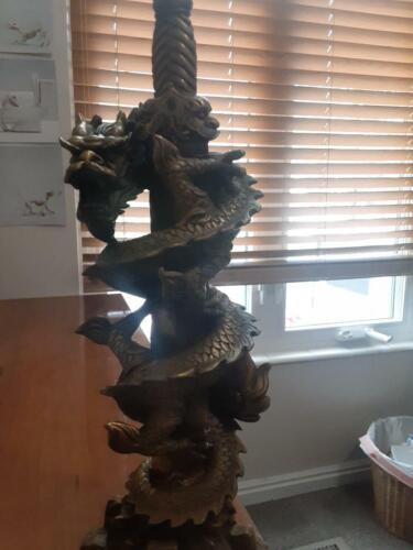 Japanese brass dragon statue