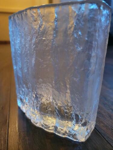 Vintage Timo Sarpaneva for Iittala Finnish Blown Textured Ice Glass Vase