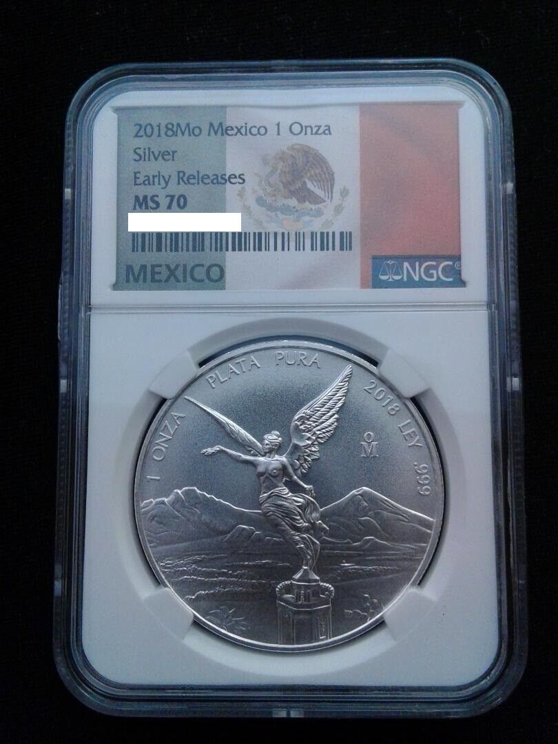 2018 Mexico 1oz Silver Libertad NGC MS70 ER - White Core - Flag Label - $54.99