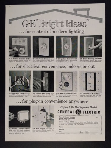 1963 GE General Electric Lighting Controls Switches vintage print Ad