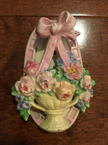 Antique Cast Iron Hubley Flower Basket Floral Door Knocker Original Paint!
