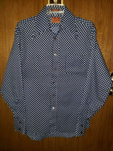VTG 70s SEARS KINGS ROAD POLKA DOT SHIRT MENS M DISCO NAVY BLUE LONG SLEEVE 1970
