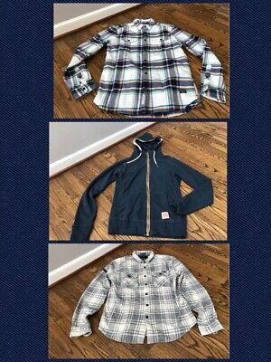 SUPERDRY Lot of 3 - Rookie Plaid Shirt + Milled Flannel + Cafe Hoodie Size L/XL