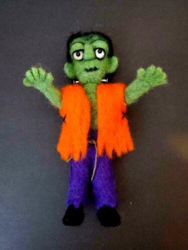 """OOAK Handcrafted Needlefelted Frankenstein """"Frankie"""" 8 1/2"""" Tall Halloween"""