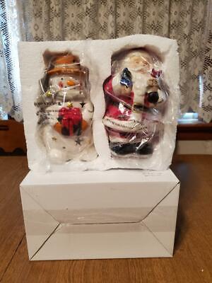 Box Of (2) Ceramic Light Up Christmas Figures Santa Clause & Snowman NIB