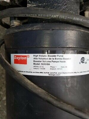 Dayton High Volume Booster Pump 5uxh8a