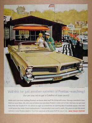 1963 Pontiac Catalina Convertible illustration art vintage print Ad