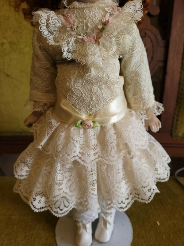 Vintage Fancy Cotton Dress For French Or German Bisque Doll Or Early Doll