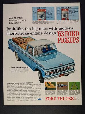 1963 Ford F100 Pickup Truck illustration art vintage print Ad