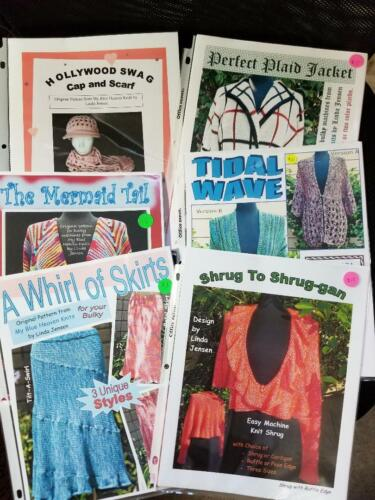 Lot of 6 Machine Knitting Patterns for the BULKY by Linda Jensen