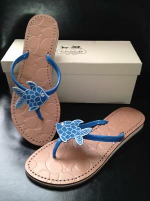 Coach Blue Fish Rhinestone Eye Sandals Flip Flops 7.5, 7 1/2 NIB ()