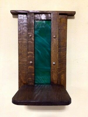 - ARTS & CRAFTS MISSION OAK & STAIN GLASS WALL DISPLAY SHELF