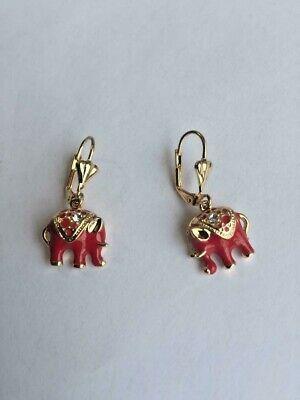 14 K GOLD PLATED DANGLE EARRINGS W/ RED ELEPHANTS ON LEVER BACK EAR WIRES J 382