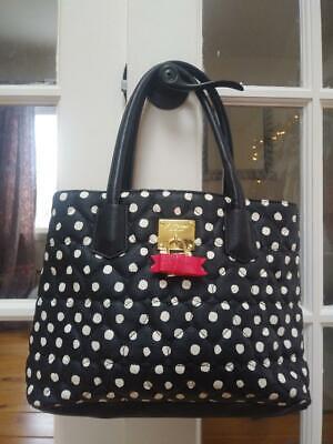 NWOT Betsey Johnson Quilted Shoulder Bag Black/White Polka -