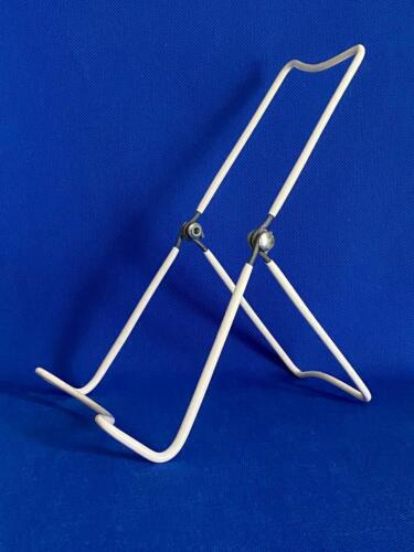 Book Stand Holder/Display Set of 5 Adjustable Holders White Plastic Coated Wire